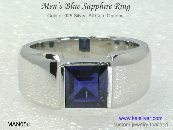 men's blue sapphire white gold ring