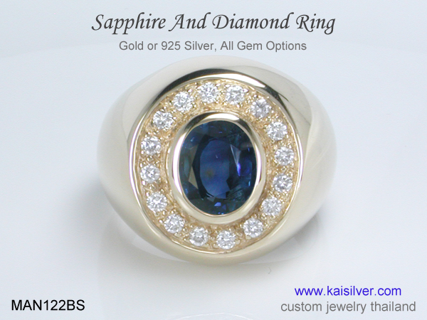 men's sapphire gold or silver ring