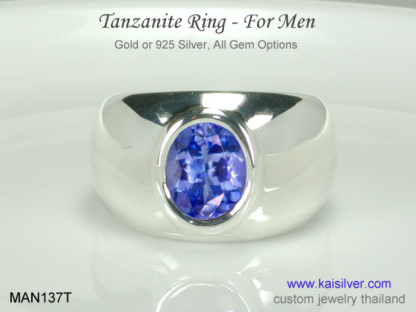 tanzanite gents ring silver or gold