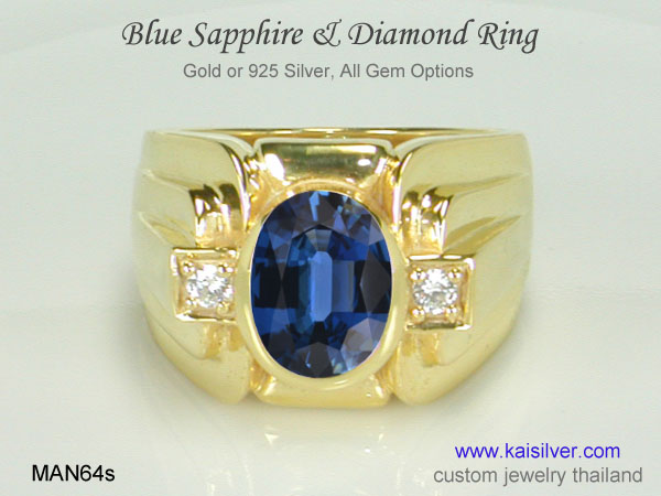 sapphire gold ring for men thailand