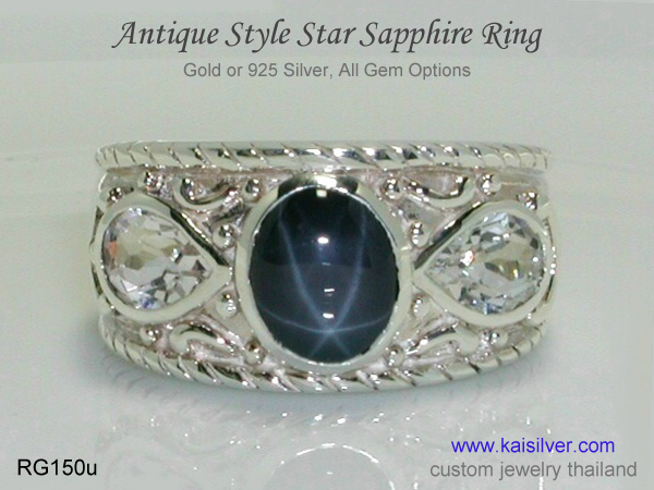 antique silver ring star sapphire